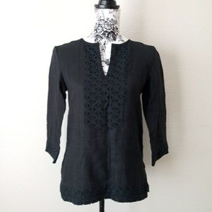 Michael Kors Cotton Crochet Trim Top Size XS